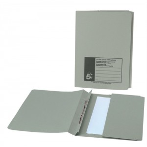 5 Star Flat File with Pocket Recycled Manilla 315gsm 38mm Foolscap Green [Pack 25]