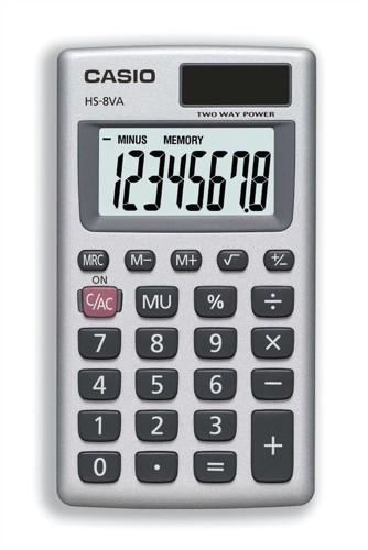 Casio Calculator Handheld Battery/Solar-power 8 Digit 3 Key Memory 57x102x8mm Ref HS8V-S-U-H