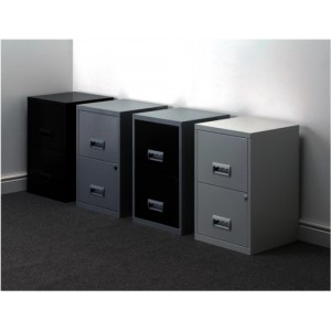 Filing Cabinet Steel Lockable 2 Drawers A4 Black