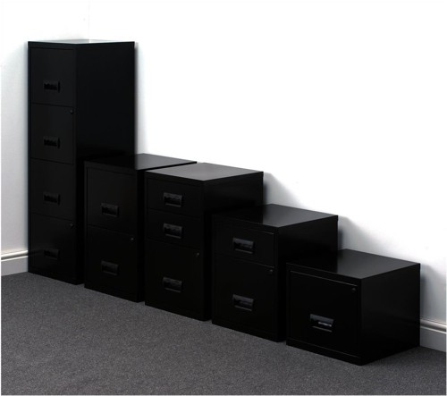 Filing Cabinet Steel Lockable 4 Drawers A4 Black