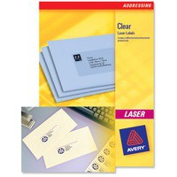 Avery Clear Addressing Labels Laser 20 per Sheet 55x12.7mm Ref L7552-25 [500 Labels]