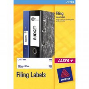 Avery Filing Labels Laser Lever Arch 4 per Sheet 200x60mm Ref L7171-100 [400 Labels]
