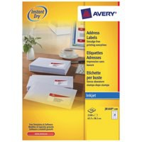 Avery Quick DRY Addressing Labels Inkjet 21 per Sheet 63.5x38.1mm White Ref J8160-100 [2100 Labels]