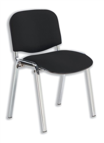 Trexus Stacking Chair Chrome Frame with Upholstered Seat W480xD420xH500mm Black