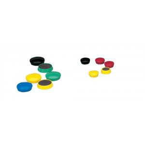 5 Star Round Plastic Covered Magnets 25mm Assorted [Pack 10]