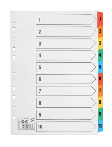 5 Star Index 230 micron Card with Coloured Mylar Tabs 1-10 A4 White