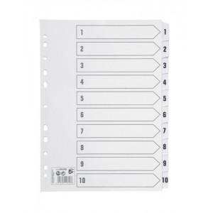 5 Star Index 230 micron Card with Clear Mylar Tabs 1-10 A4 White