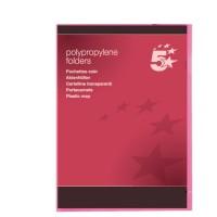 Image for 5 Star Folder Cut Flush Polypropylene Copy-safe Translucent A4 Red [Pack 25]
