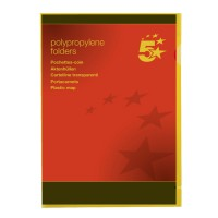 Image for 5 Star Folder Cut Flush Polypropylene Copy-safe Translucent A4 Yellow [Pack 25]