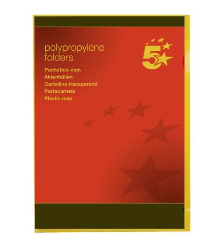 5 Star Office Plastic Folder A4 Ye Pk25