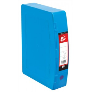 5 Star Box File Polypropylene with Twin Clip Lock Foolscap Blue
