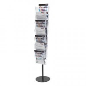 Literature Floor Stand Unit Portrait 7 x A4 Pockets Crystal