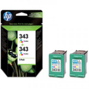 HP No.343 Tri-Colour Inkjet Cartridge 2x7ml Twin Pack Code CB332EE