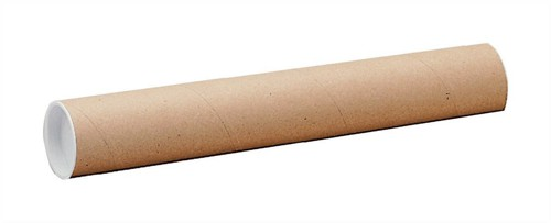 Postal Tube Cardboard with Plastic End Caps L720xDia.102mm [Pack 12]