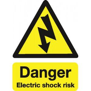 Stewart Superior Safety Sign Danger Shock Risk 200x150mm Self-adhesive Vinyl Ref KS002SAV