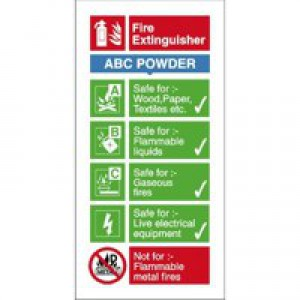 Stewart Superior Sign ABC Dry Powder Fire Extinguisher W100xH200mm Self-adhesive Vinyl Ref FF092SAV