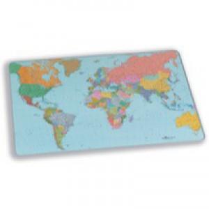 Durable World Map Desk Mat PVC Non-slip Base 600x400mm Transparent Code 7211/19