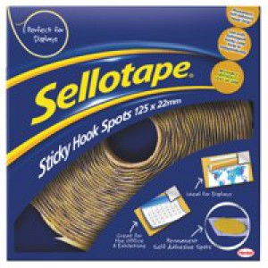 Sellotape Sticky Hook Spots in Handy Dispenser of 125 Spots Diameter 22mm Yellow Code 783882