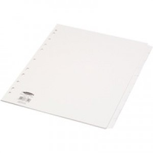 Concord Punched Pocket Subject Dividers Extra Wide 10-Part A4 White Ref 77801