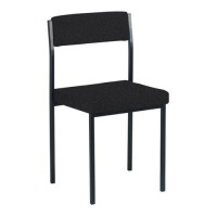 Image for Trexus Side Chair Stackable Steel Frame Upholstered Seat W410xD410xH460mm Charcoal