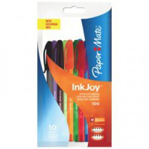 Paper Mate InkJoy 100 Ballpoint Pen 1.0 Tip 0.7mm Line Assorted Ref S0957190 [Pack 10]