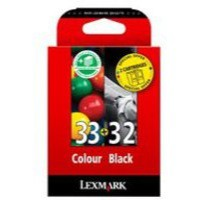 Lexmark No.32 & No.33 Inkjet Cartridges Black & Colour Code 80D2951