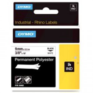 Dymo Rhinopro Industrial Tape Permanent Polyester 9mmx5.5m White Code S0718240