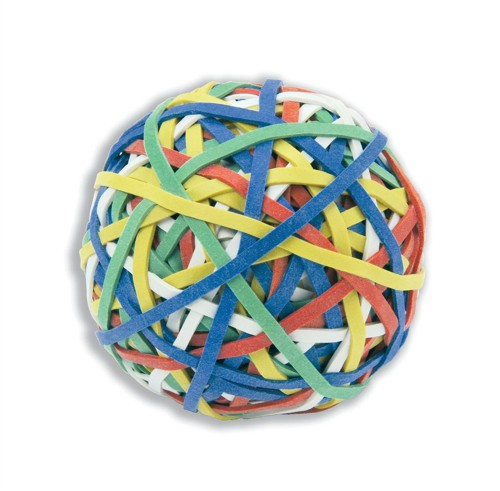 Rubber Band Ball of 200 Bands Natural Rubber Assorted Ref RBB1