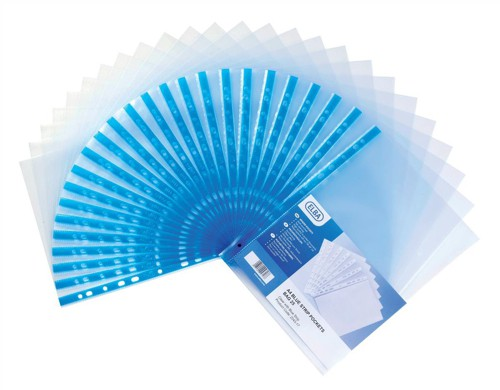 Elba Glass Clear Multipunched Pocket Blue Strip 75 Micron A4 Ref 202308 [Pack 100]