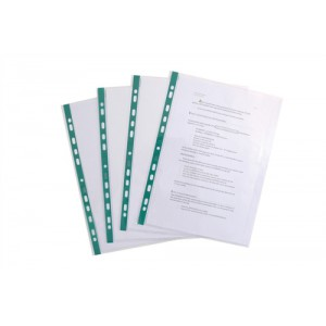 Elba Glass Clear Multipunched Pocket Green Strip 55 Micron A4 Ref 202908 [Pack 100]