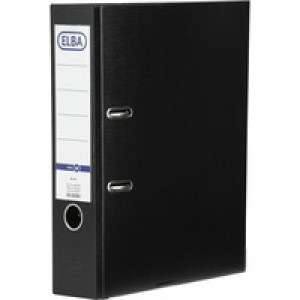 Elba Lever Arch File A4 Coloured Paper Over Board 80mm Spine Black Ref B1045709 [Pack 10]