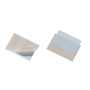 Durable Pocketfix Business Card and Label Pocket Self Adhesive Top Opening 57x90mm Ref 8093 [Pack 10]
