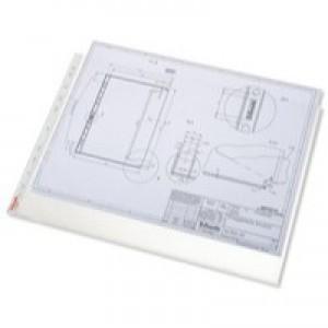 Esselte Pocket Polypropylene Multipunched Reinforced Top-opening A3 Landscape Clear Ref 47182 [Pack 10]