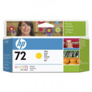 Hewlett Packard [HP] No. 72 Inkjet Cartridge Vivera Ink 130ml Yellow Ref C9373A