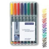 Staedtler 316 Lumocolor Pen Non-permanent Fine 0.6mm Line Assorted Ref 316WP8 [Wallet 8]