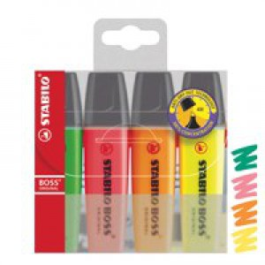 Stabilo Boss Highlighters Chisel Tip 2-5mm Line Assorted Wallet 4 Code 70/4