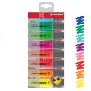 Stabilo Boss Highlighters Chisel Tip 2-5mm Line Assorted Wallet 8 Code 70/8