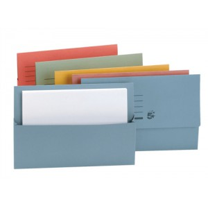 5 Star Document Wallet Half Flap 250gsm Capacity 32mm Foolscap Assorted [Pack 50]