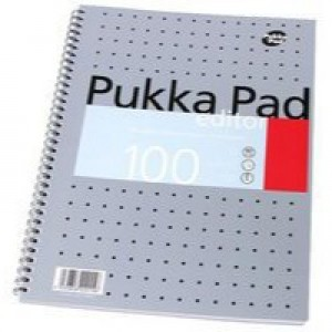 Pukka Pad Editor Notebook Wirebound Perforated Ruled Margin 4-Hole 80gsm 100 Pages A4 Ref EM003 [Pack 3]