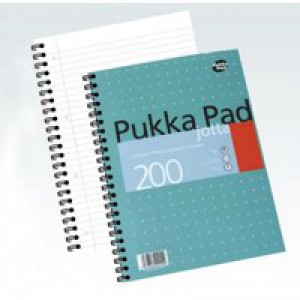 Pukka Pad Notebook Wirebound Jotta 80gsm Ruled and Margin 4 Hole 200 Pages A4 Code JM018