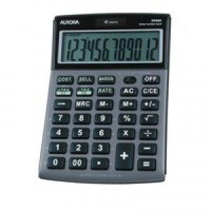 Aurora Calculator Desktop Multifunction 12 Digit 3 Key Memory Tilted 101x150x23mm Ref DT661