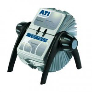 Durable Visifix Flip Rotary File With 200 Pockets for 400 Business Cards Black/Silver Code 2417/01