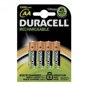 Duracell Battery Rechargeable Accu NiMH 1300 mAh AA Ref 81367177 [Pack 4]