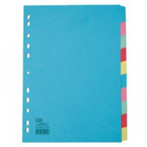 Elba Card Dividers Europunched 10-Part A4 Assorted Ref 400007246