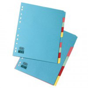 Elba Card Dividers Europunched 5-Part A4 Assorted Ref 400007241