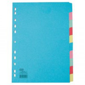 Elba A4 ExWide 10Part Card Divider Assorted