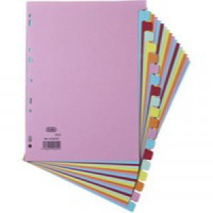 Elba Card Dividers Europunched 20-Part A4 Assorted Ref 400007438