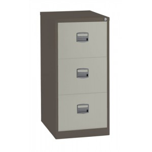 Trexus Filing Cabinet Steel Lockable 3-Drawer W470xD622xH1016mm Brown and Cream