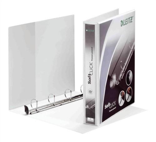 Leitz Softclick Presentation Ring Binder Polypropylene 4 D-Ring 25mm A4 White Ref 42010001 [Pack 6]