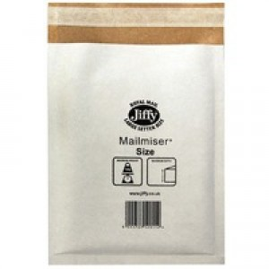 Jiffy Mailmiser Protective Envelopes Bubble-lined No.0 White 140x195mm Ref JMM-WH-MP0 [Pack 10]